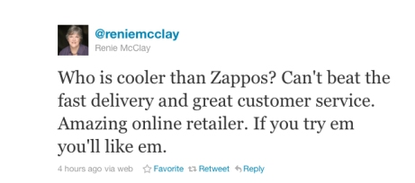 Zappos-customer-tweet - businessinsiderdotcom
