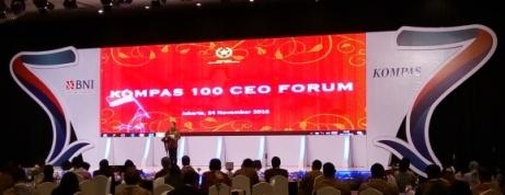 Presiden Joko Widodo berpidato di Kompas CEO Forum 2016